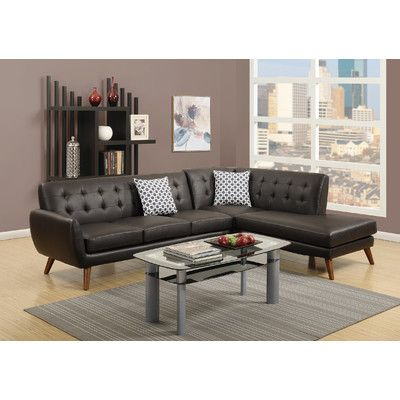 Barclay 4 Seat Bonded Leather Sofa W/ Chaise Brown