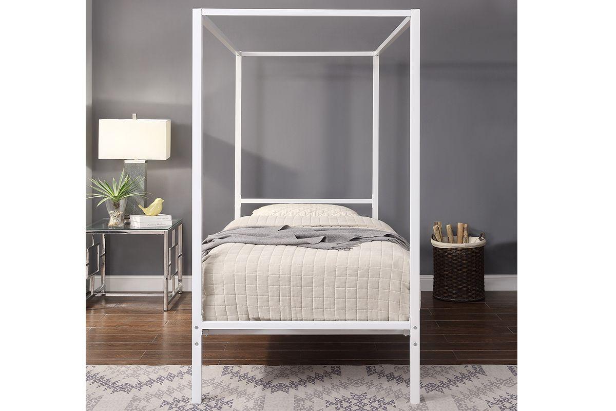 Modern White Four Poster Metal Bed Frame Single 3ft Single Metal