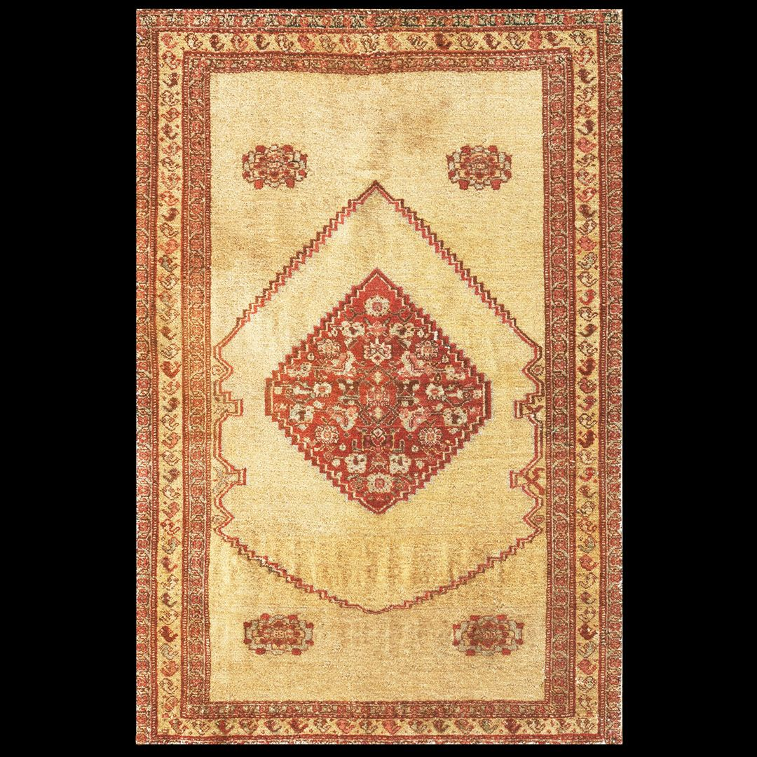 Senneh Rug - 21674 | Persian Formal 1' 11'' x 2' 10'' | Yellow, Origin Persia, Circa: 1890  #antiquerug #rahmanan #persianeug #antiquerugstudio #nyc #yellowrug #persian #sennehrug