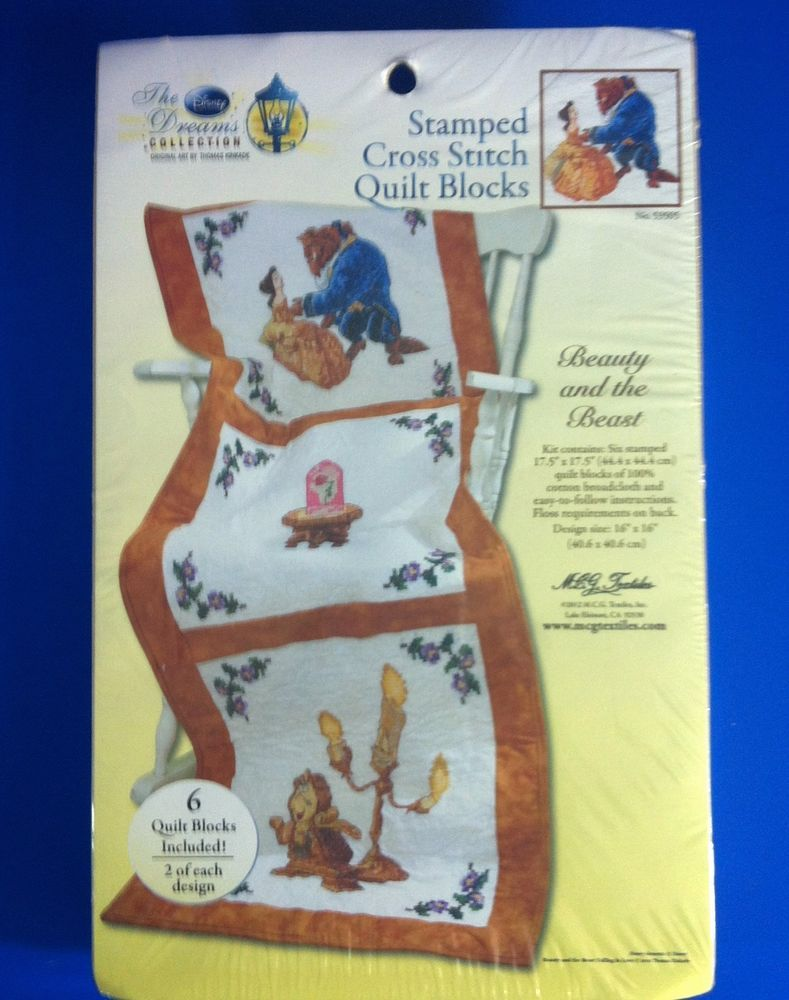 Beauty The Beast Stamped Cross Stitch Quilt Blocks Kit Disney
