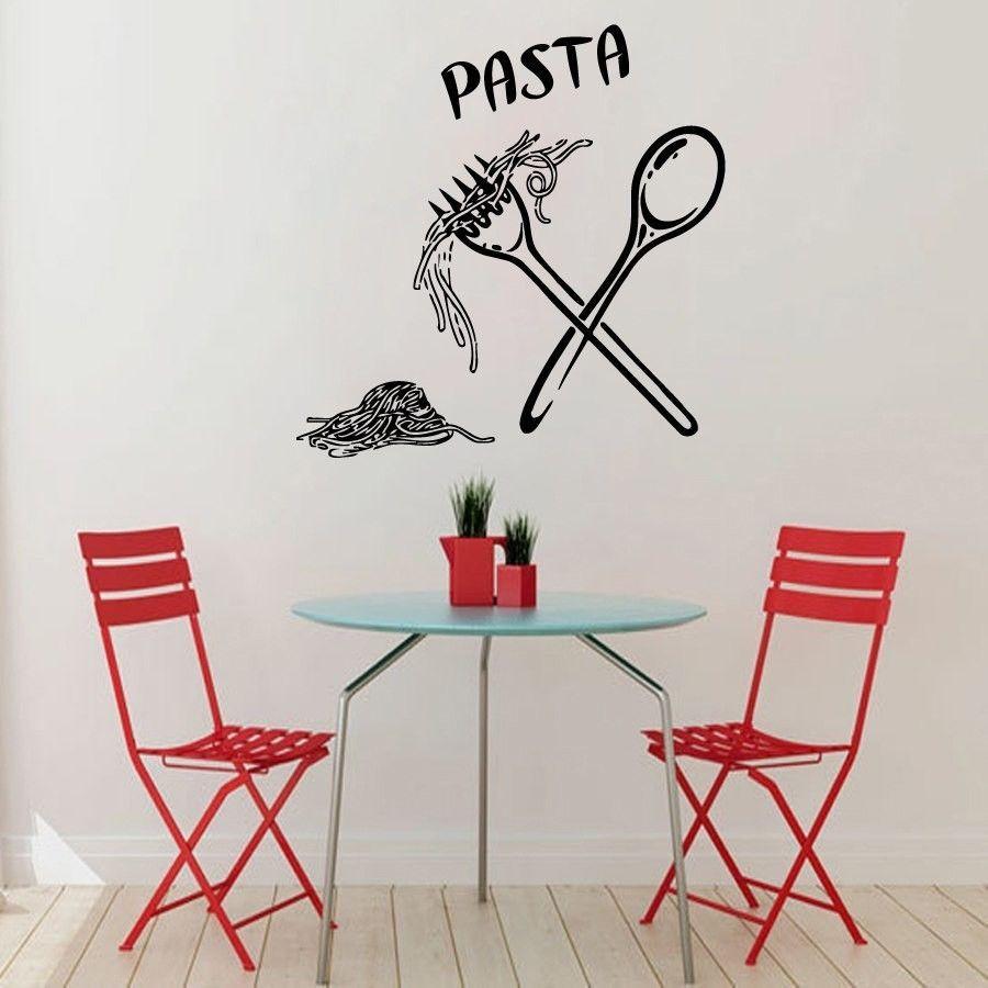 Wall Decals Words Pasta Spoon Folk Kitchen Vinyl Sticker Murals Wall ...