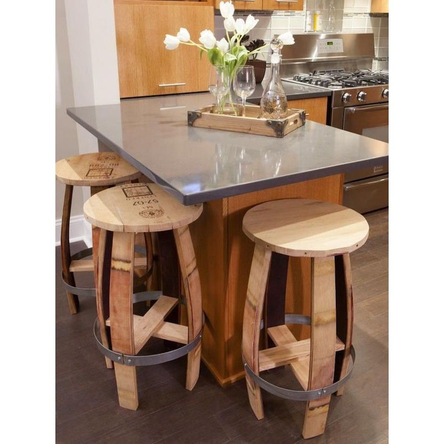 Re-use old wine barrels as dining chair. Pretty, isn't it? #rumahkukitchen