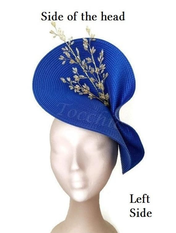 Royal blue fascinator, Kentucky derby hat Royal blue, Ascot hat blue, Electric blue wedding hat,Ascot fascinator hat gold,Blue cocktail hat