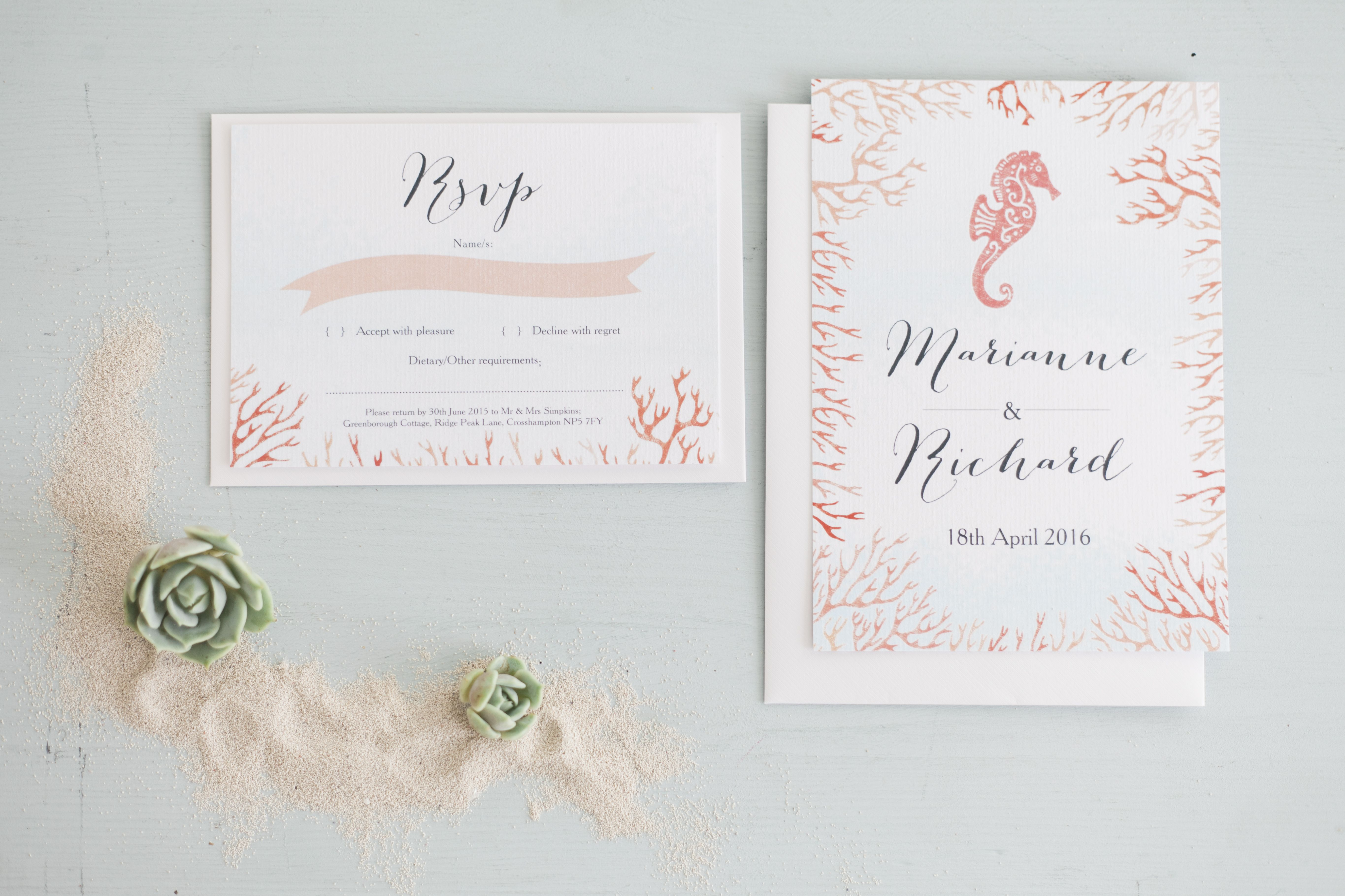 Seahorse & coral inspired destination wedding invitations by Hip Hip ...