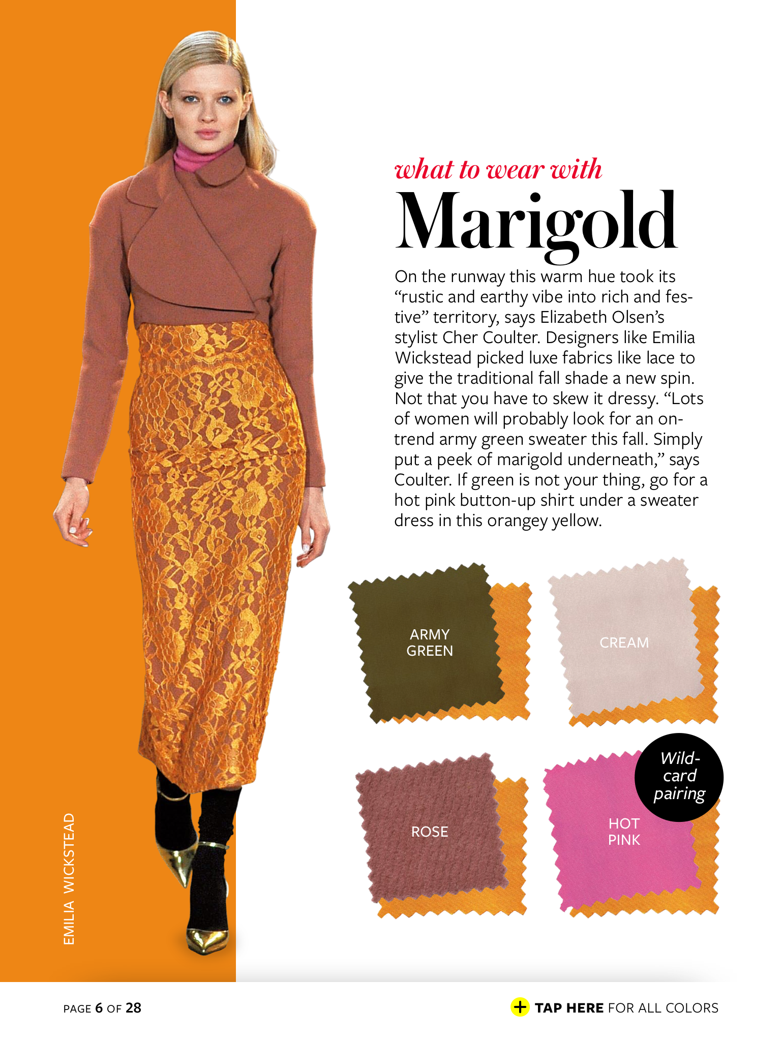 marigold + army green/cream/rose/hot pink