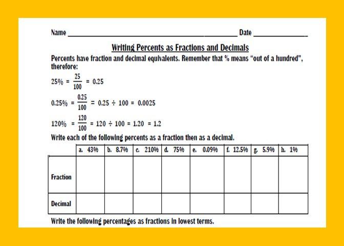 Practice Worksheet With Examples On Converting Percents Into