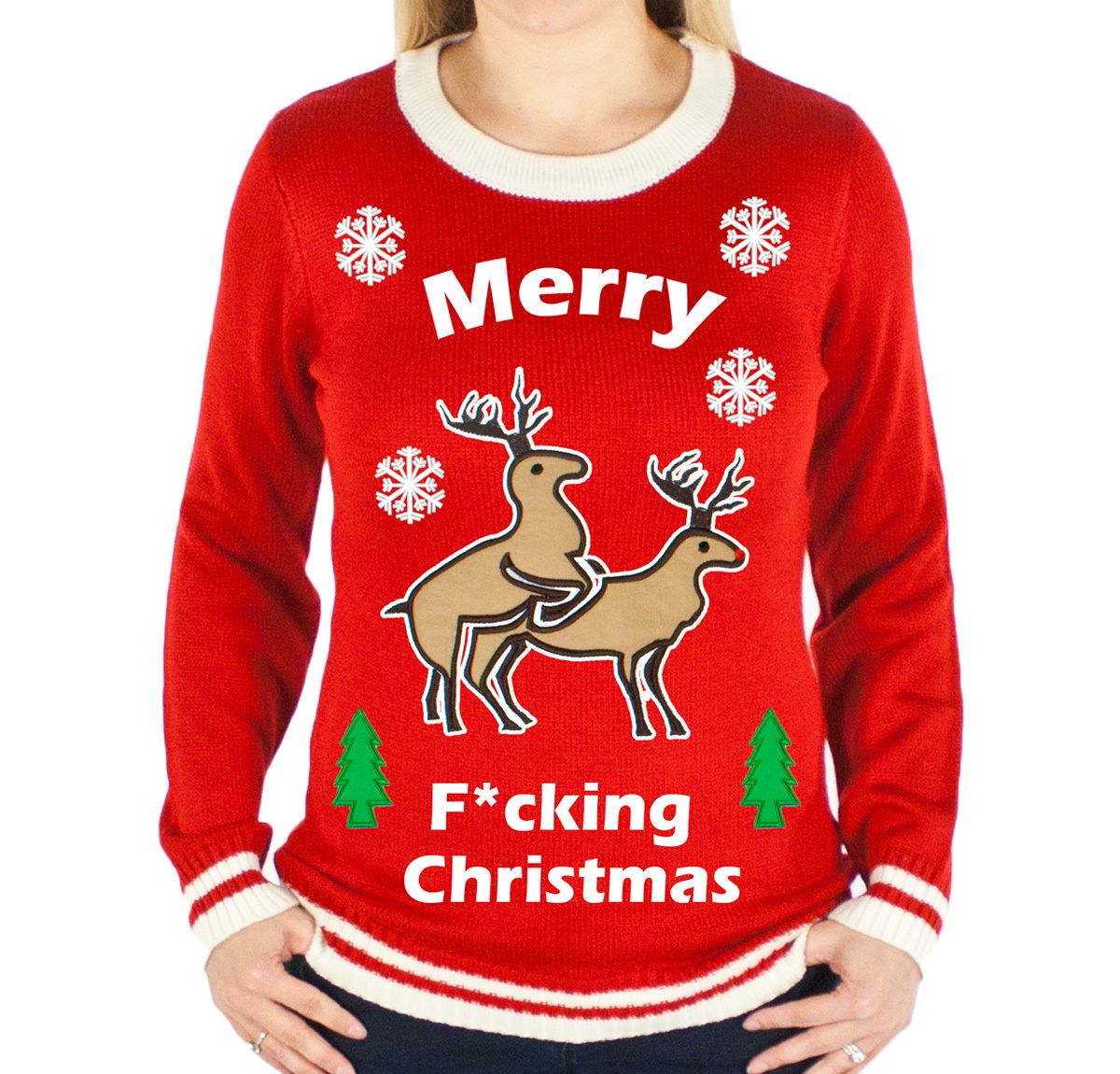 c7a87f70461 Festified - Women s Merry F-ing Christmas Sweater (Red ...