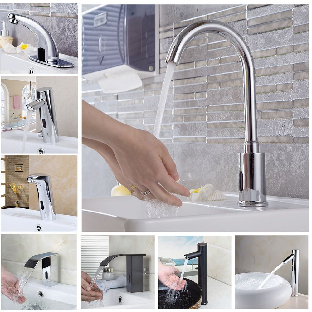 Electronic Hands Free Automatic Sensor Cold Water Faucet Bathroom ...