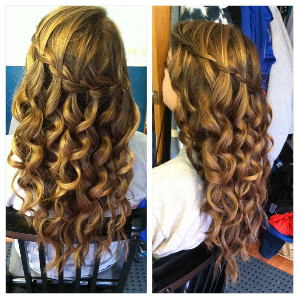 Waterfall braid , curing wand curls