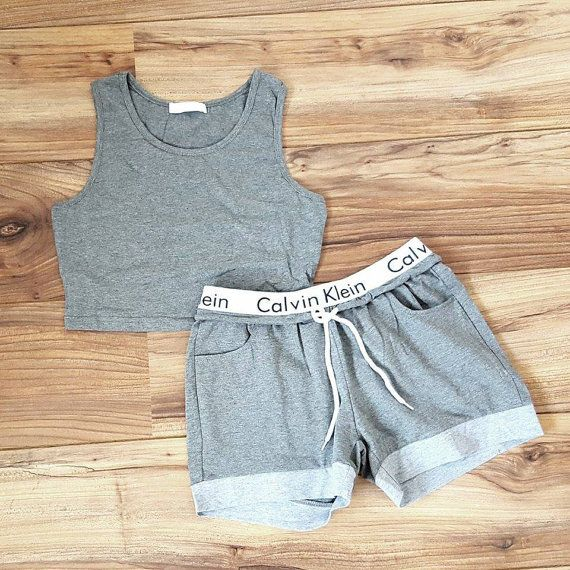 Handmade Calvin klein crop top and shorts OR leggings set Size Guide  SMALL    UK 6   8 MEDIUM   UK 8   10 LARGE   UK 10 - small 12 slight stretch 9eb9395346