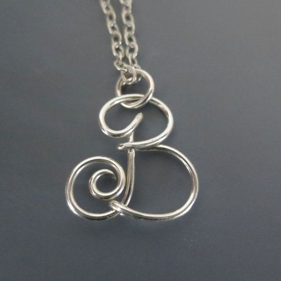 Letter B Wire Initial Necklace Argentium by SilverLightsJewelry ...