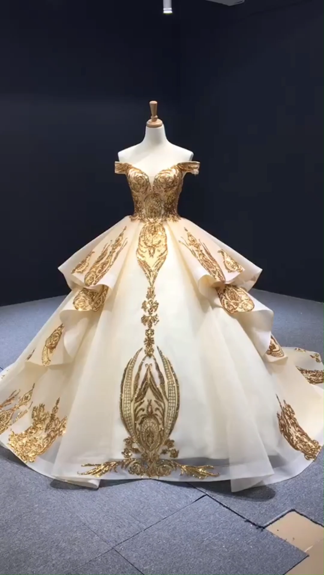 Sparkly gold couture formal dresses with train. Luxury gold sequin ball gown. #couture #couturefashion #prom #style #fashion Source by daisincy #gowns