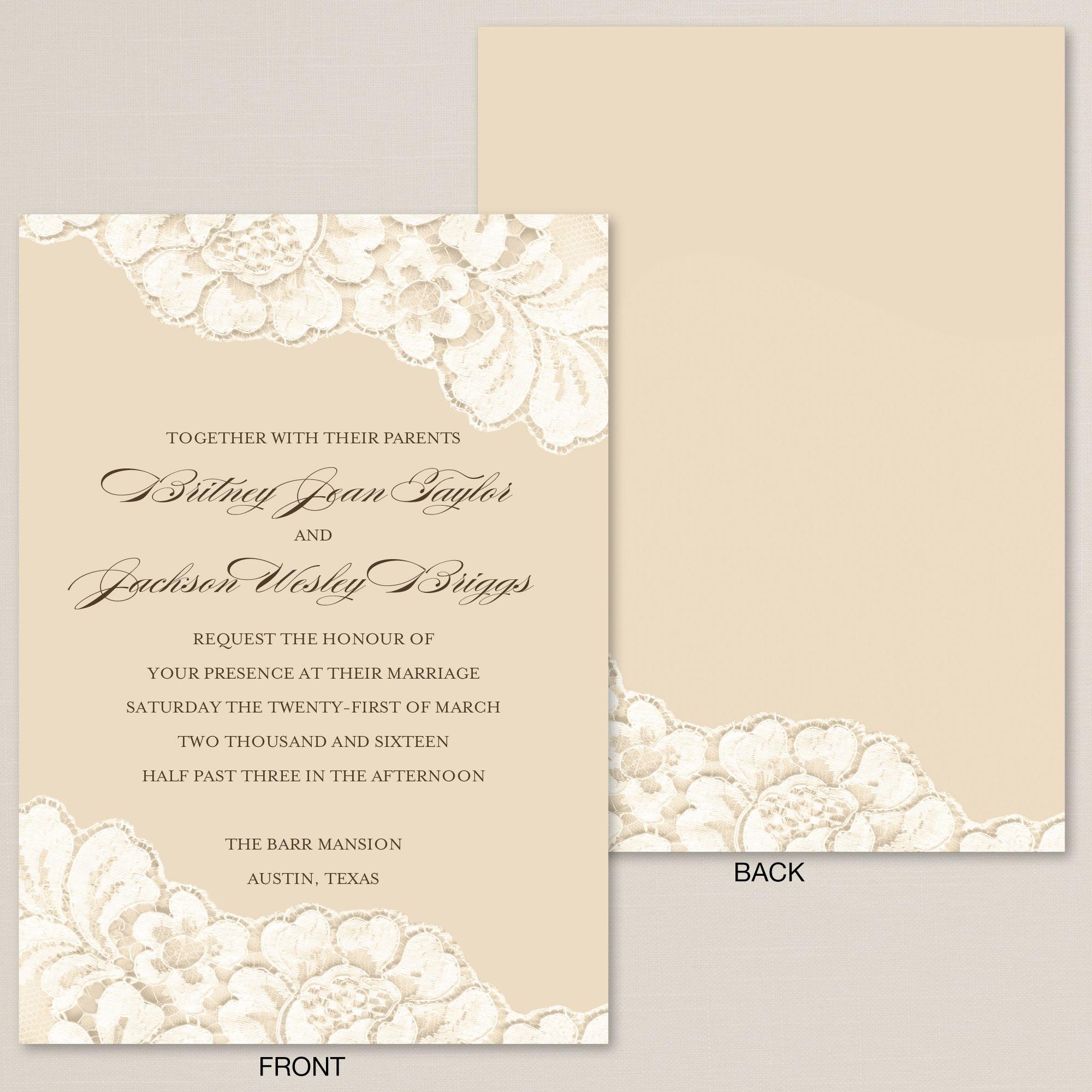 Timeless Lace Wedding Invitation White Lace On Cream Backdrop