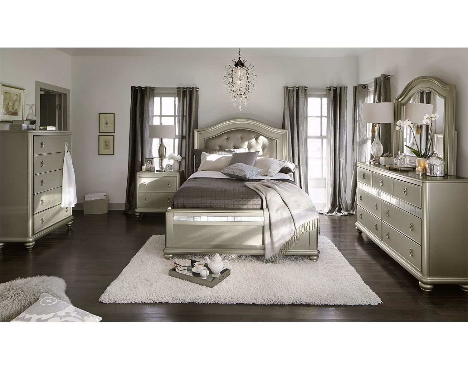 Platinum Resplendencethe Serena Bedroom Suite Offers An Air Of Classy Value City Furniture Bedroom Sets Design Inspiration