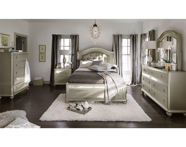 Platinum Resplendencethe Serena Bedroom Suite Offers An Air Of Classy Value City Furniture Bedroom Sets Design Inspiration