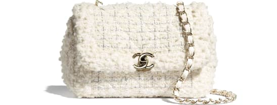 Small Flap Bag, tweed & gold-tone metal, white – CHANEL