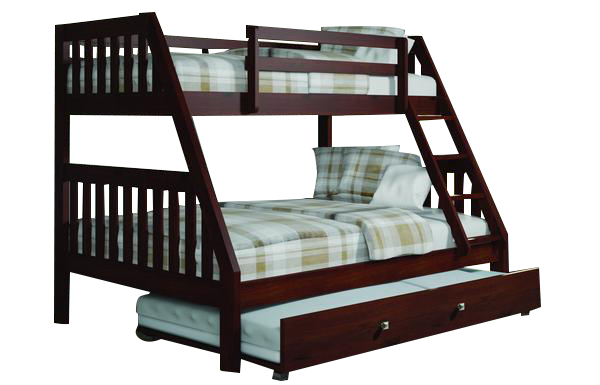 Best Ian Modern Dark Wood Twin Over Full Bunk Bed With Trundle 400 x 300