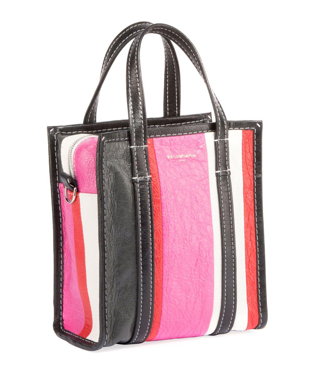 085545bb332 Balenciaga Bazar Shopper Extra Small Striped Leather Tote Bag | Me ...