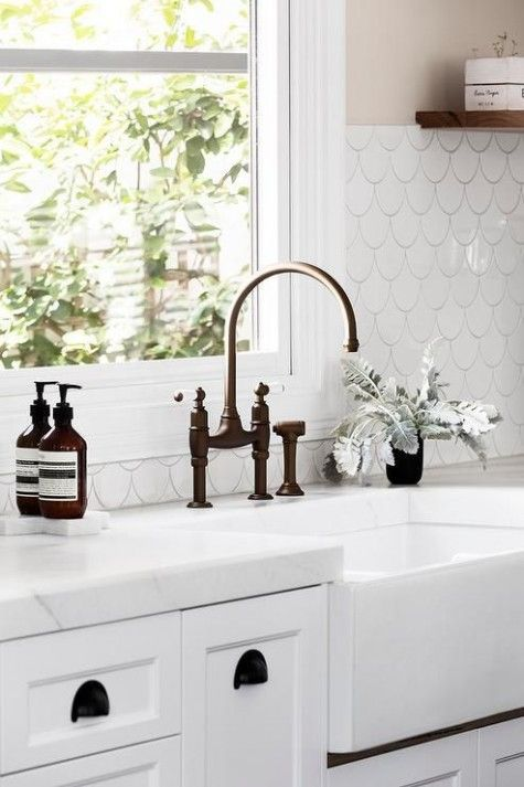 Scalloped Tile Backsplash  In The Kitchen  Pinterest  Tile Prepossessing Kitchen Sink Backsplash Design Decoration