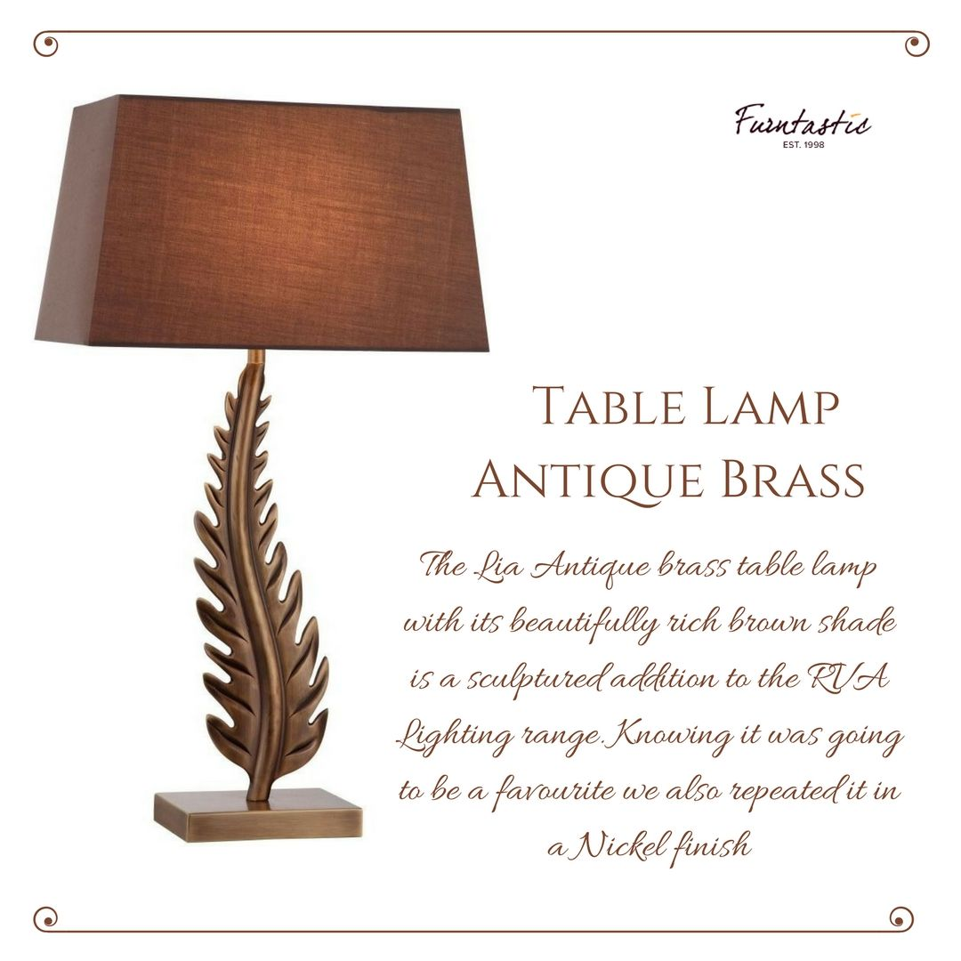 R V Astley Lia Antique Brass Table L& #TableL& #BrassTableL& The Lia Antique brass table l& with its beautifully rich brown shade is a sculptured ...  sc 1 st  Pinterest & R V Astley Lia Antique Brass Table Lamp #TableLamp #BrassTableLamp ...