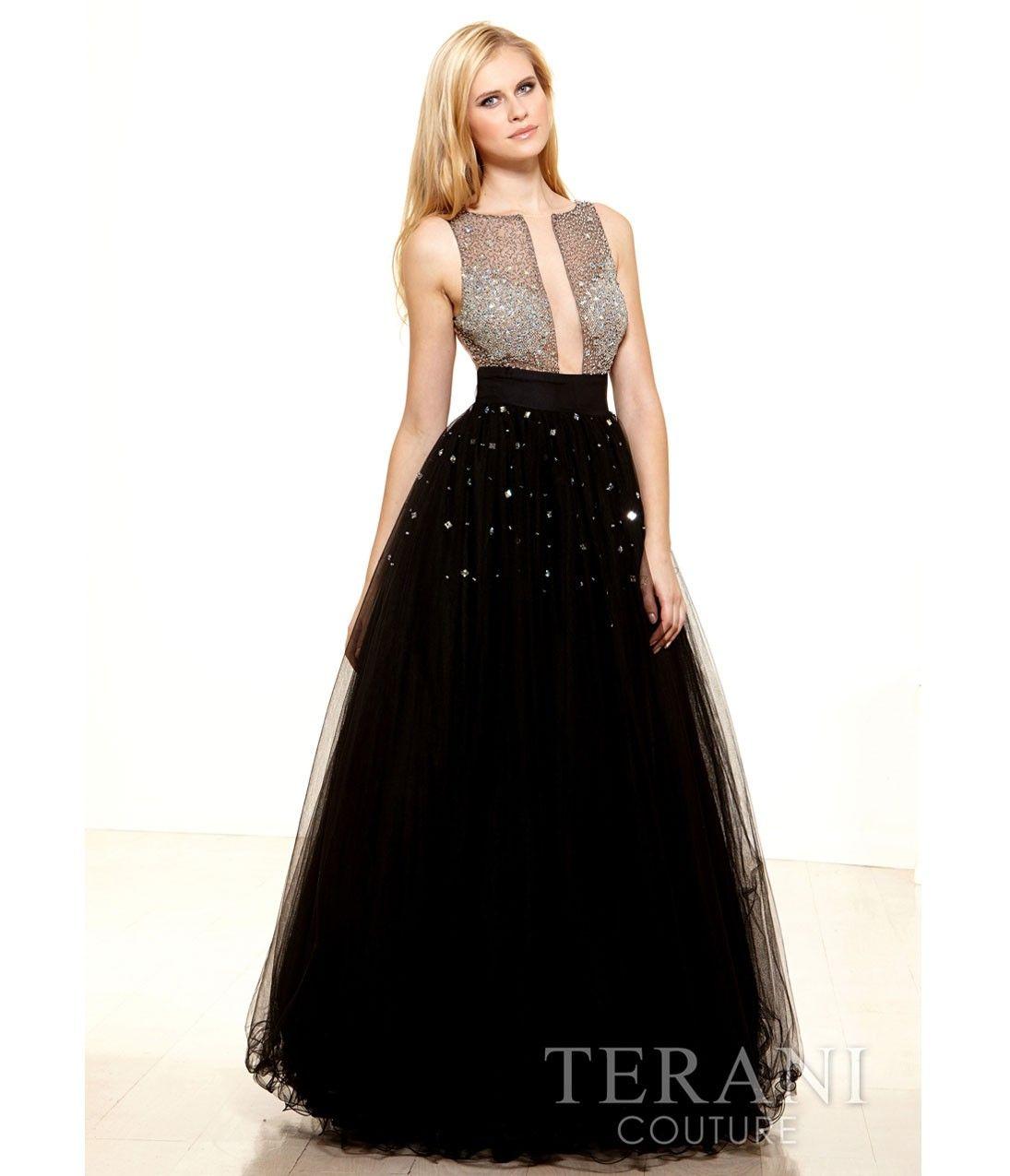 Terani prom dresses black mesh u crystal center cut out ball