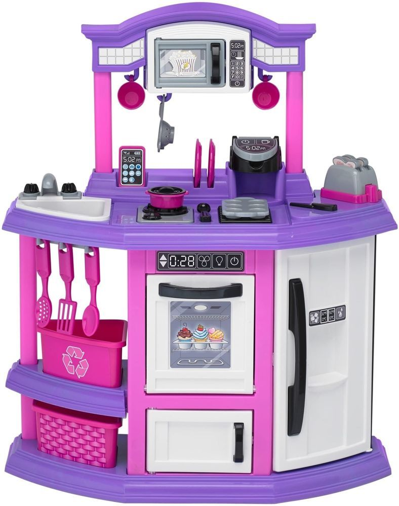 Girls Plastic Pink Bakers Kitchen Kids Pretend Play Set Toys