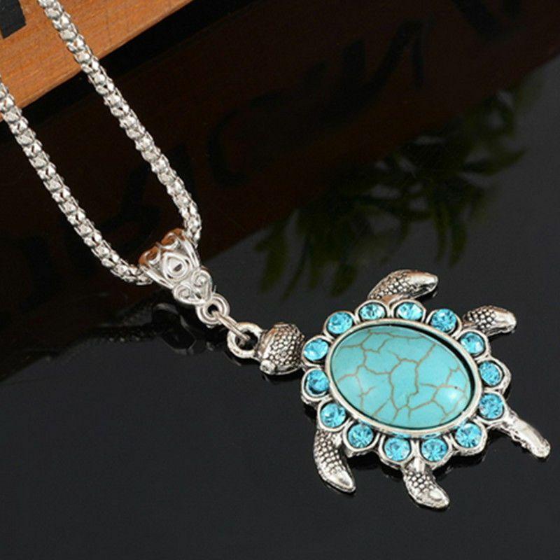 Vintage Jewelry Tibetan Silver Sea turtle Turquoise Women Pendant Necklace !