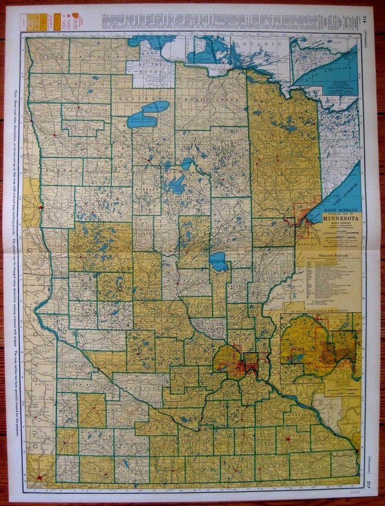 1947 Antique MINNESOTA Map w RAILROADS RARE Poster SIZE Minnesota ...