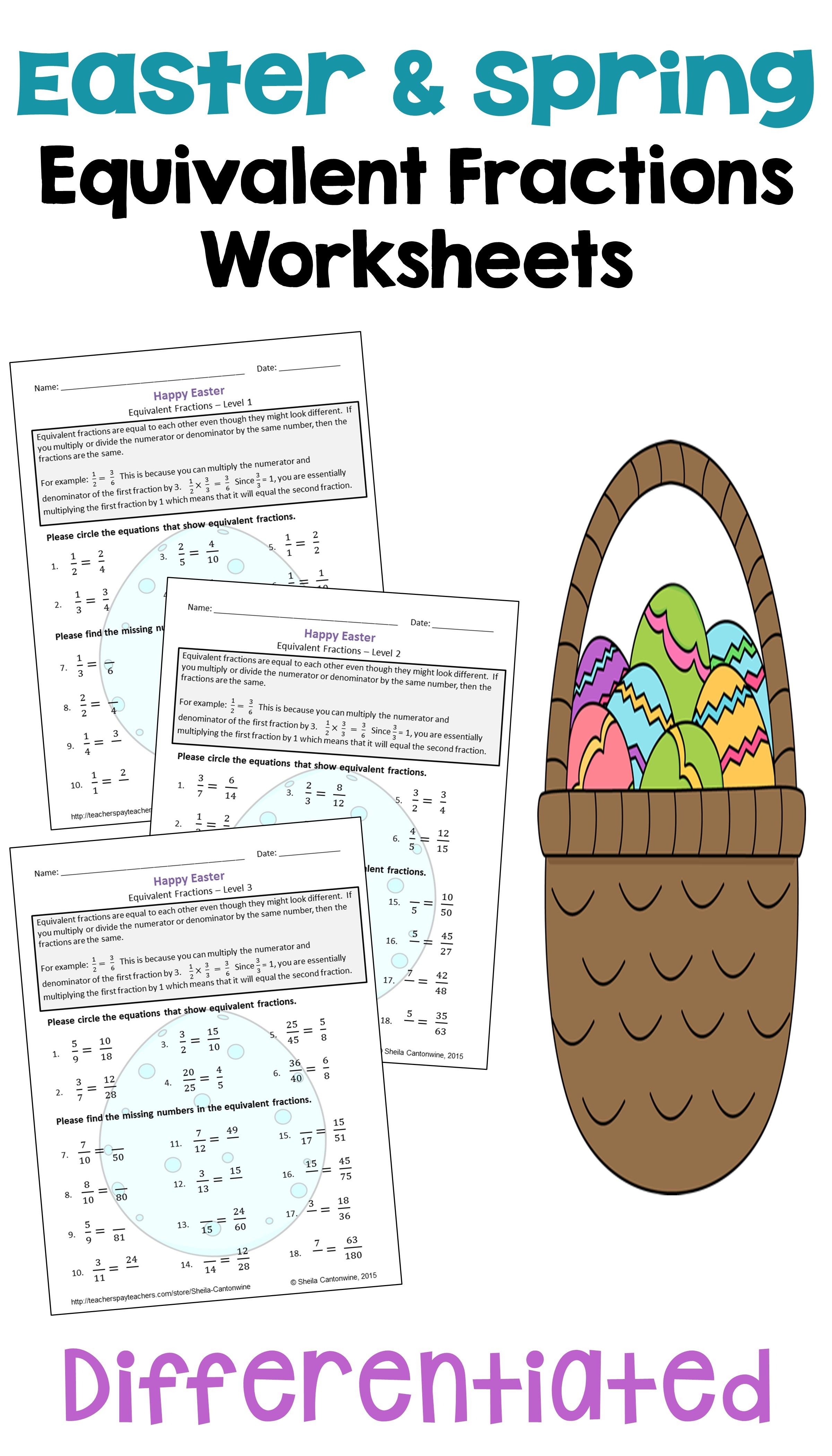 Easter Math Equivalent Fractions Worksheets Differentiated