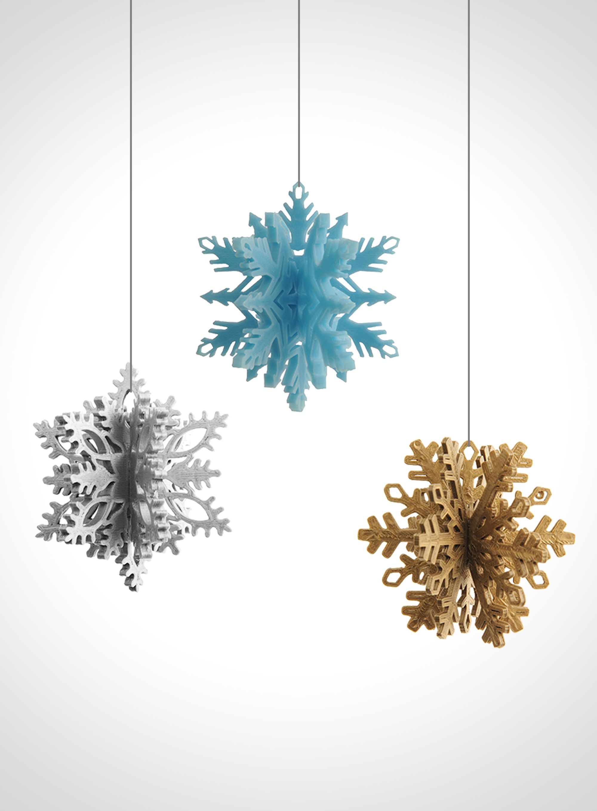 Christmas snowflake ornaments - 3d Printed Christmas Snowflake Ornaments By Matthijs Kok