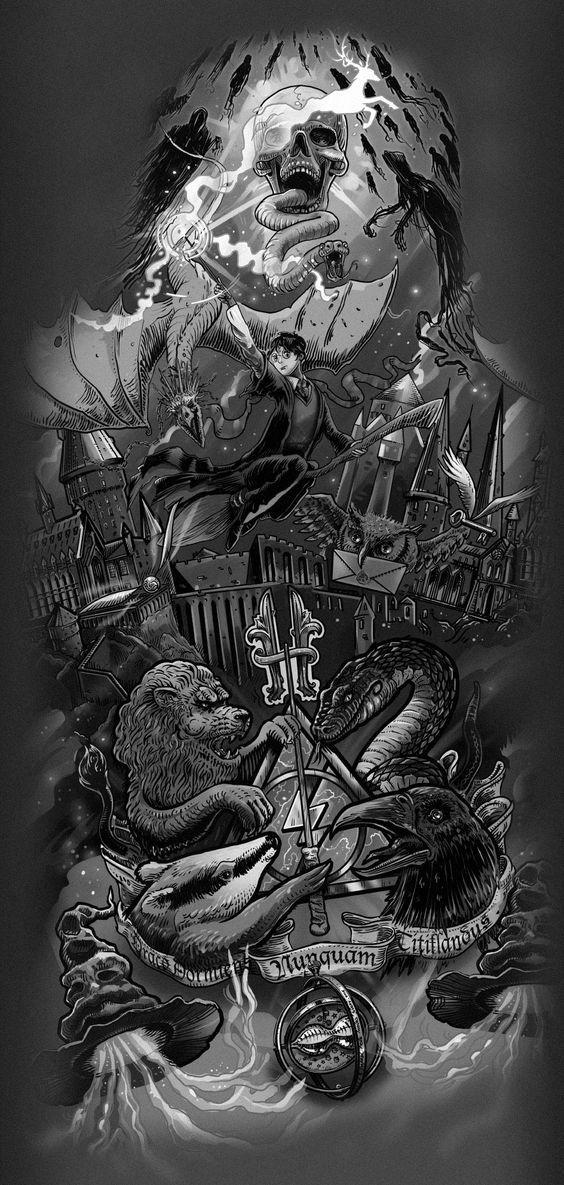 Harry Potter theme tattoo design on Behance | tatoos | Pinterest ...