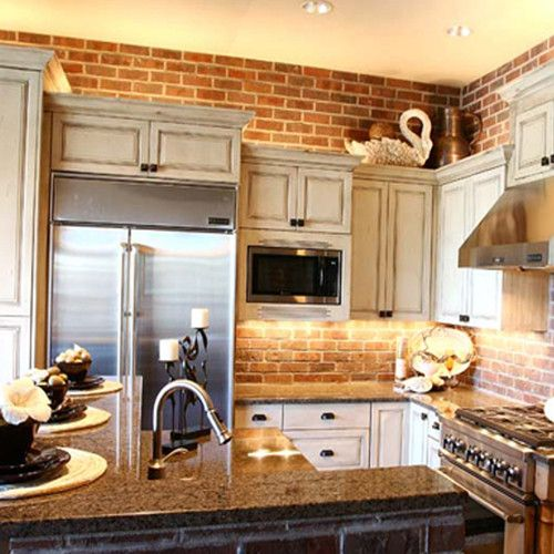 Exposed Brick Kitchen With Lights Under And Above Cabinets