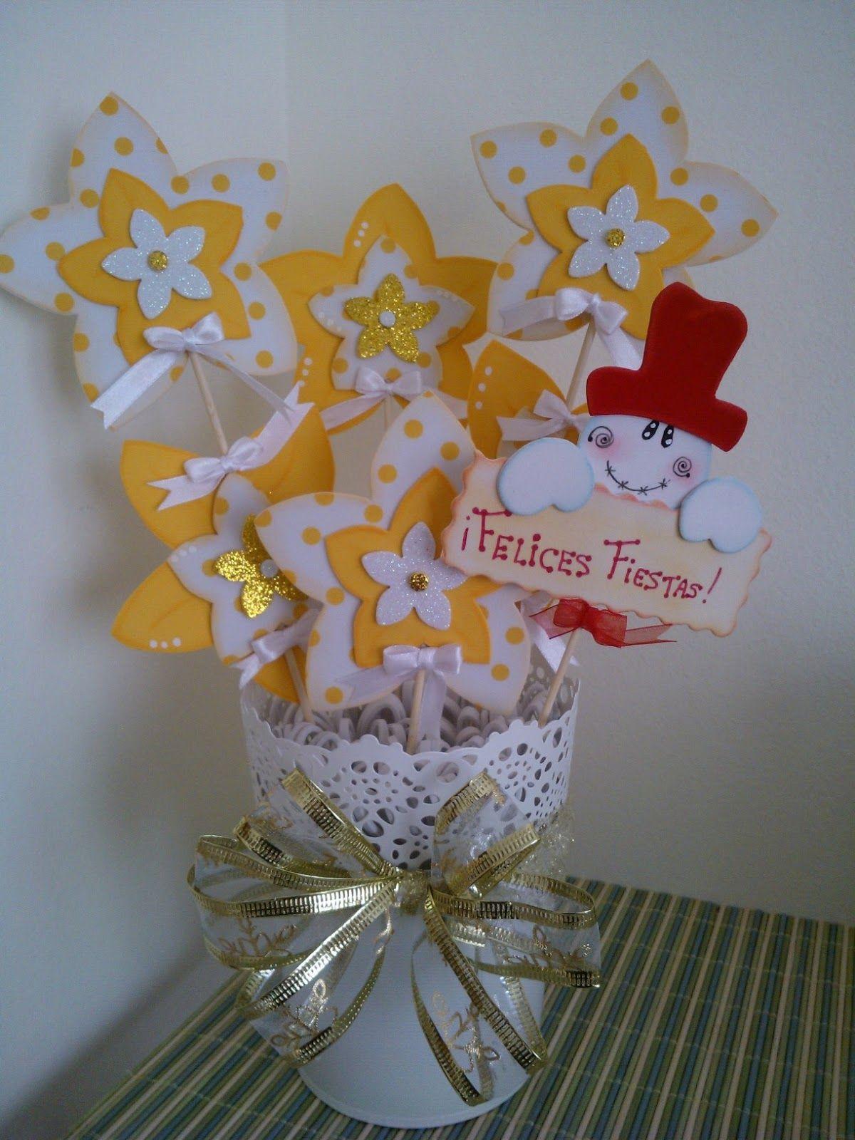 Maceta decorada flores goma eva navidad foamy - Manualidades de navidad con goma eva ...