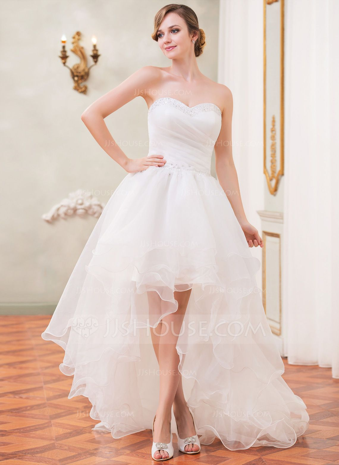 Forme Princesse Bustier en coeur Traîne asymétrique Organza Robe de mariée avec Plissé Emperler Sequins (002031874) - JJsHouse