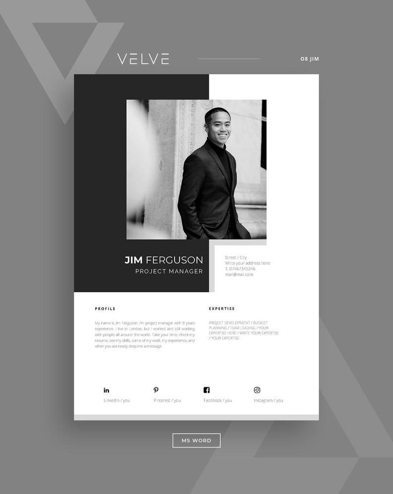Resume Cv 5 Page Template Cover Letter Instant Download Resume For Ms Word High Quality Modern Resume Design Jim In 2021 Cv Template Resume Template Cover Letter