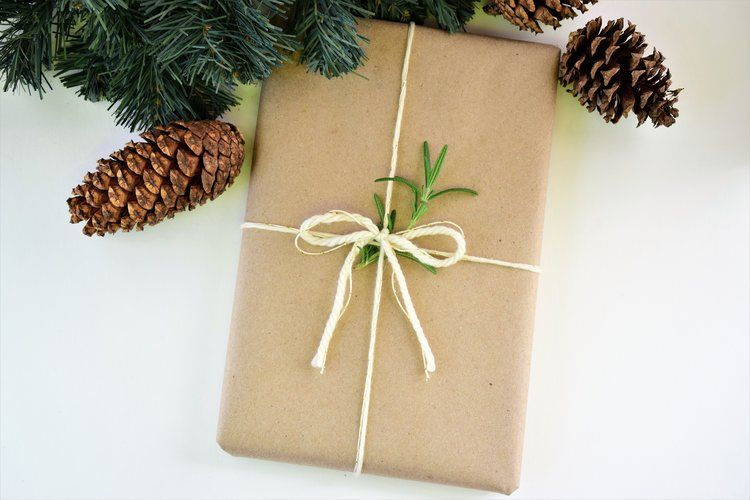 Simple Craft wrapping with a twig of rosemary Packaging - packing slip form