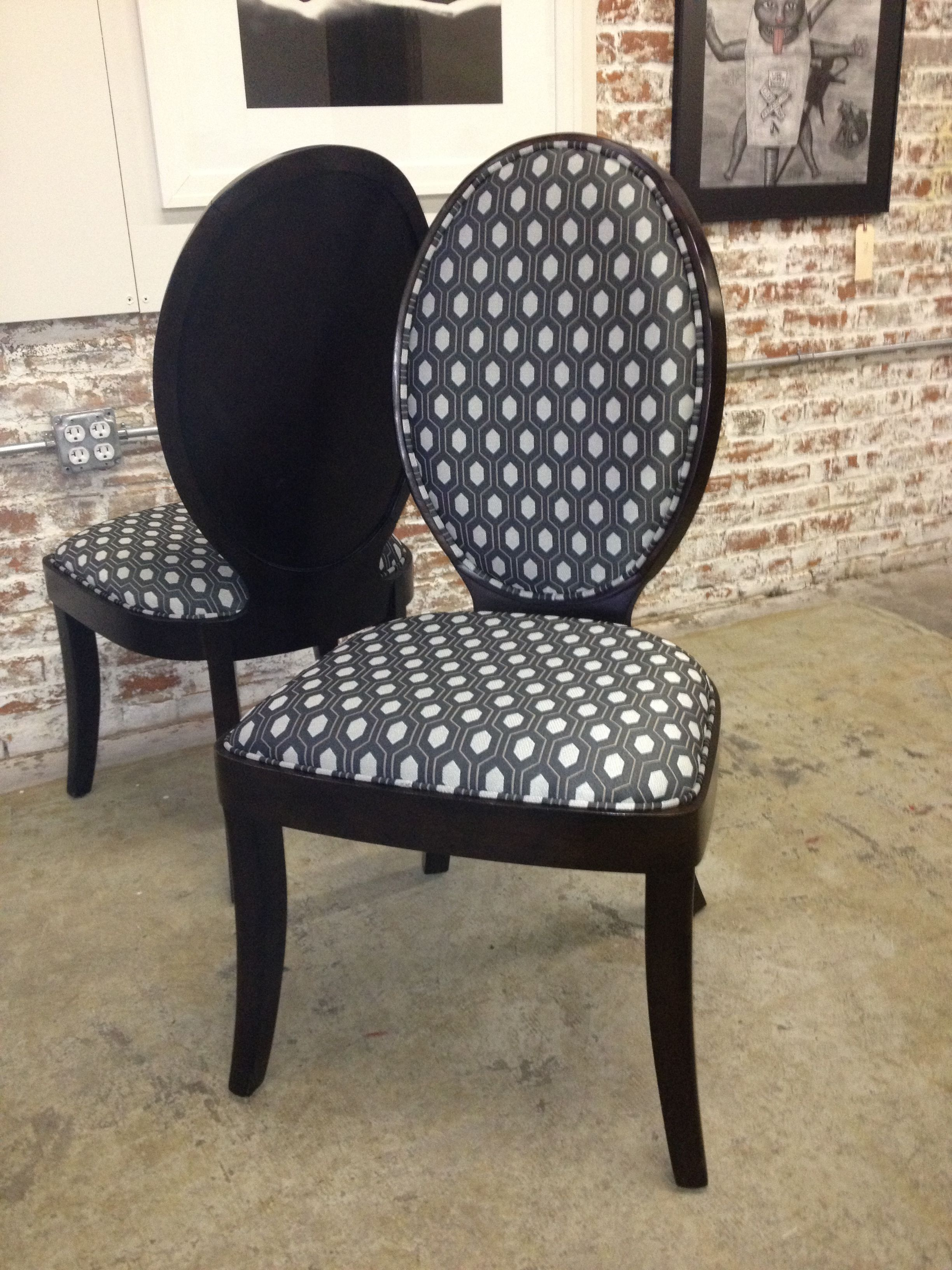 Pair Of Dining Chairs Reupholstered In Thom Felicia For Kravet By Sit On It A Chair Gallery Kansas City Dinning Room Chairs Chair Dining Chairs