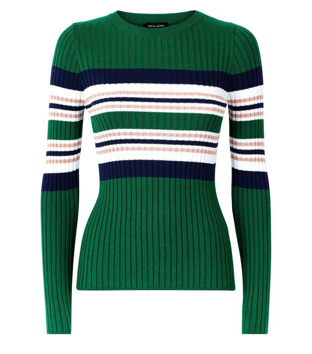 Green stripe ribbed jumper siyah kazak pinterest green stripes
