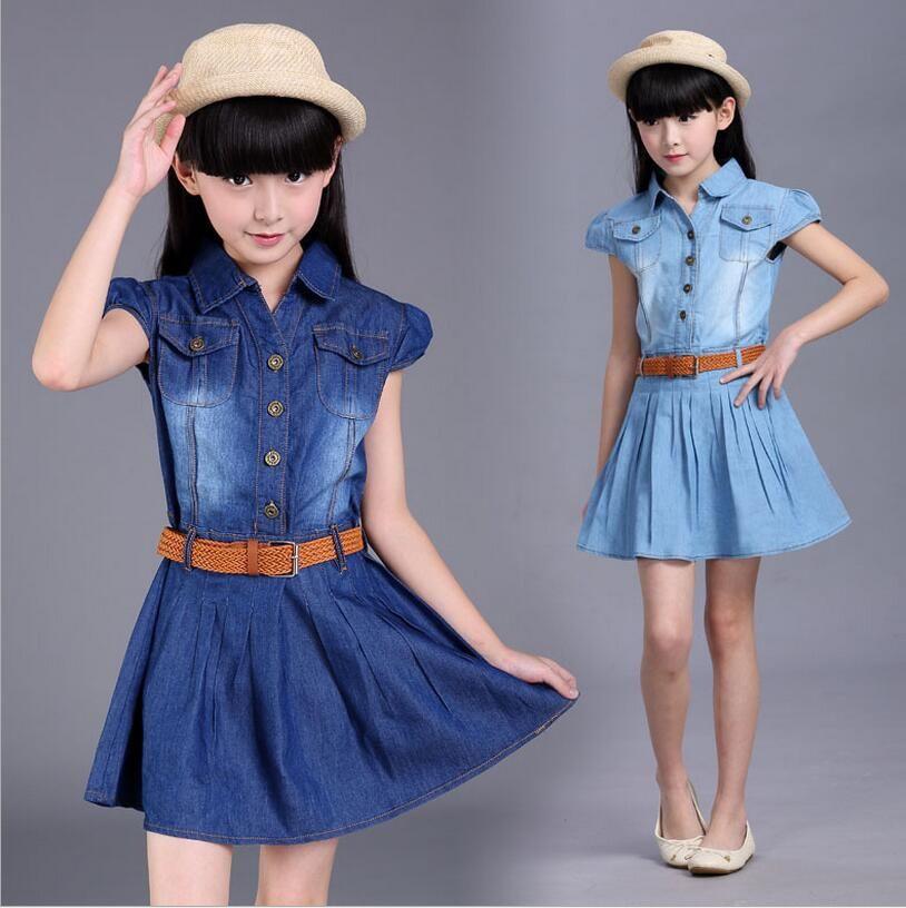 Modelos de vestidos de jean para nina