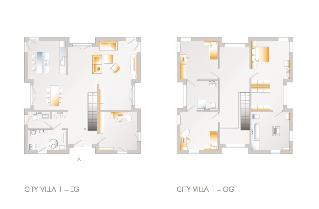 Grundriss des Einfamilien-Fertighaus City Villa 1 | Stadtvilla ...