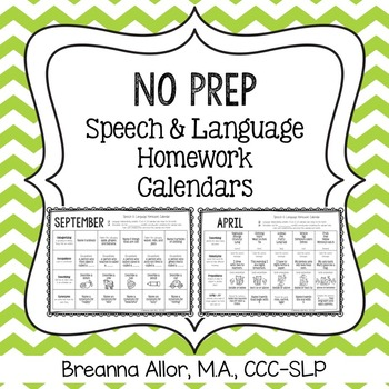 No Prep Speech  Language Homework Calendars  Language Homework