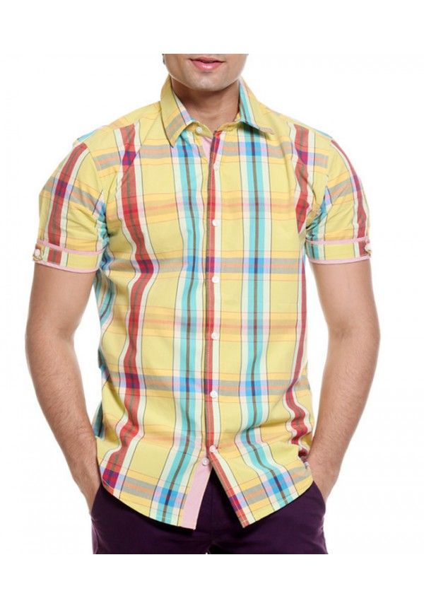 India's best TOG Yellow Half Casuals Mens Check Shirt for men at ...