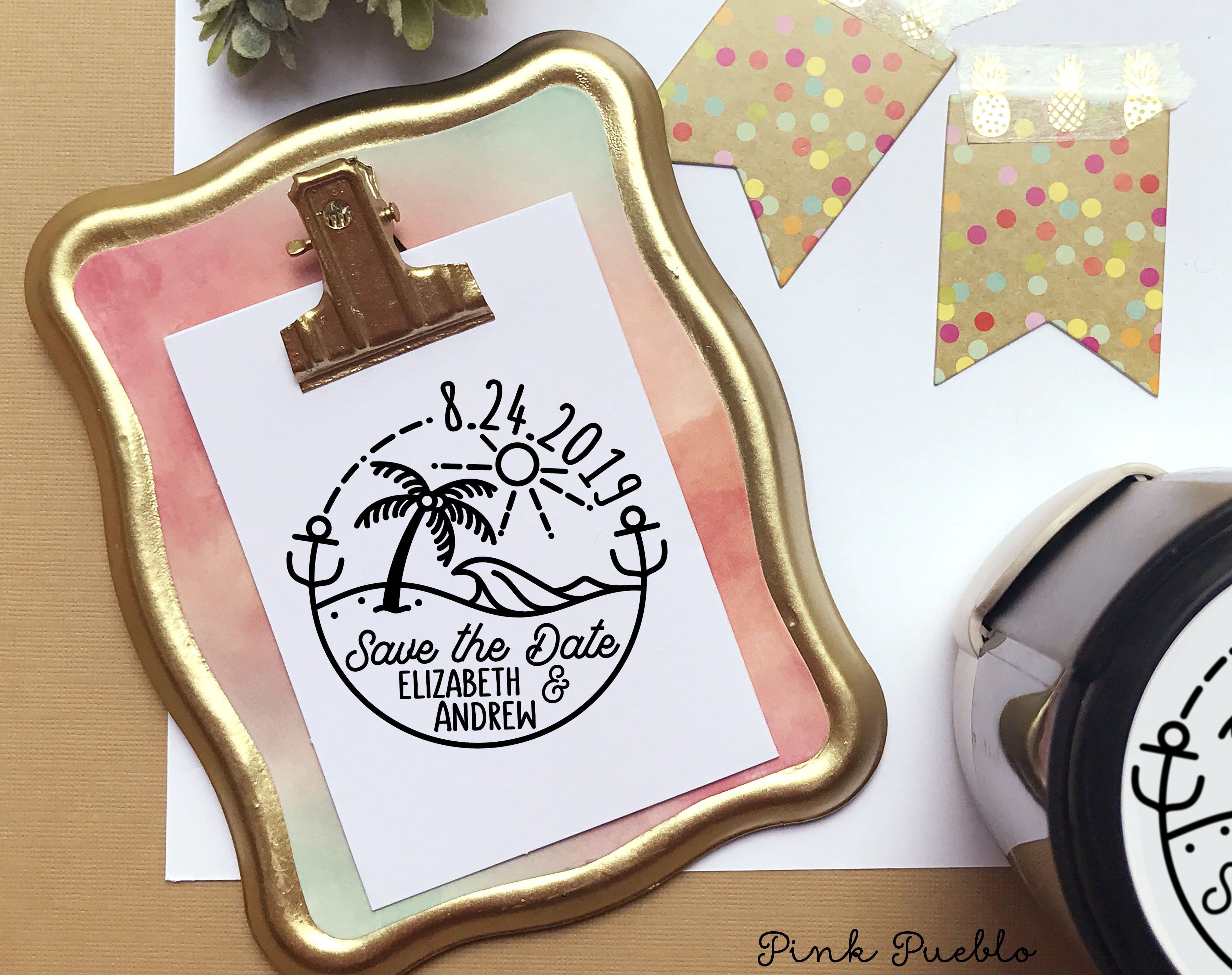 Self Inking Beach Save The Date Stamp Round Self Inking