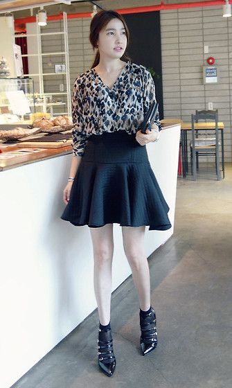 Miamasvin Long Sleeve Leopard Print Blouse, Miamasvin Quilted Fit And Flare Skirt, Miamasvin Multistrap Patent Pointy Pumps