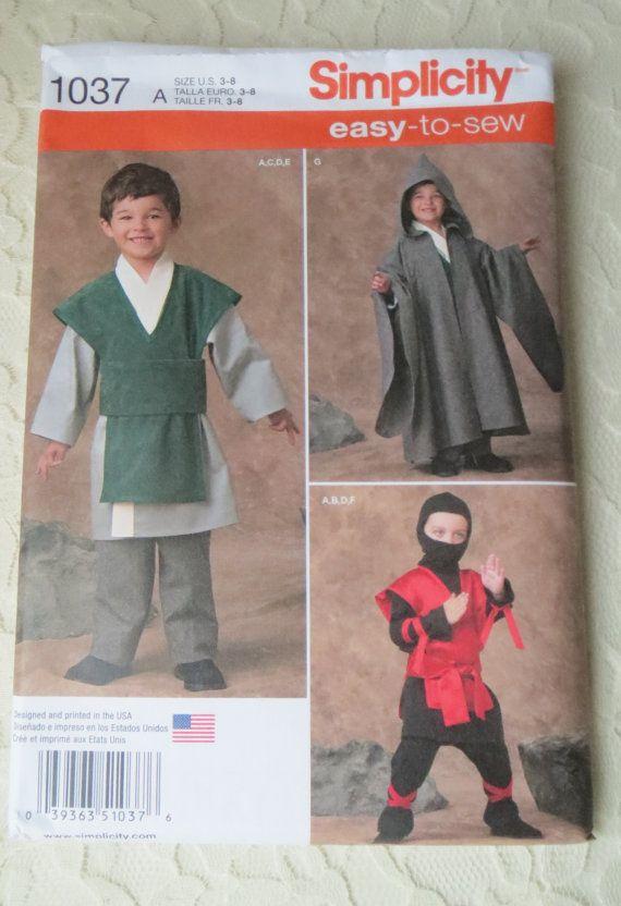 Simplicity 1037 Boy/'s  Robe Tunic and Ninja Costumes     Sewing Pattern