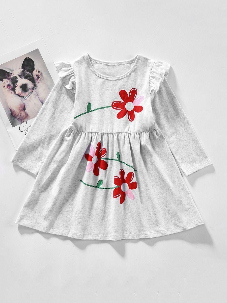 Little Girl Flower Gray Casual Dress Casual Dress Gowns For Girls Girls Dresses [ 1200 x 900 Pixel ]