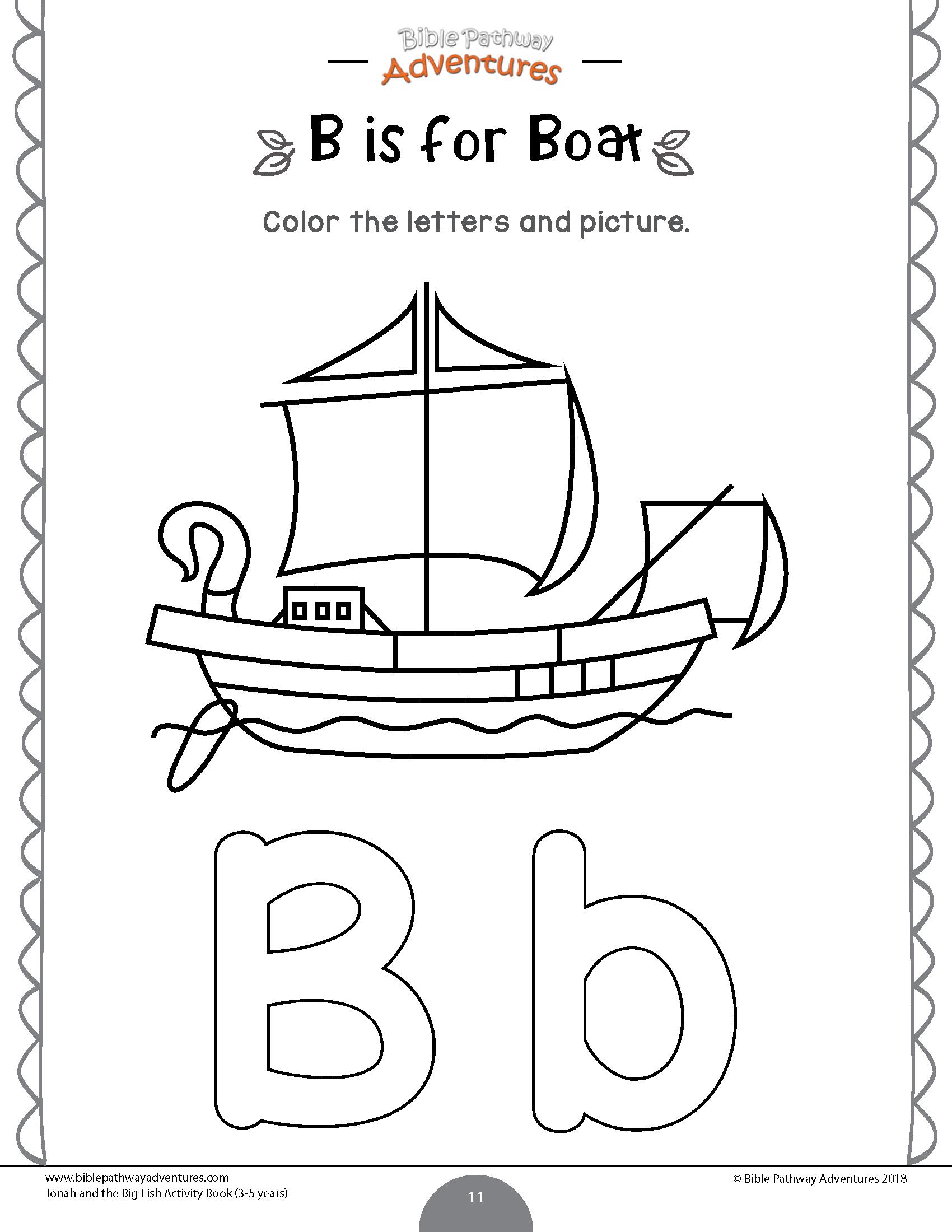 B Is For Boat Jonah Worksheet