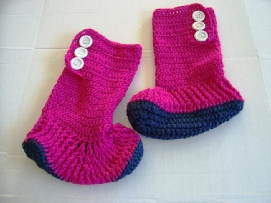 Hand Crochet Fuchsia Fireside High Top Slipper Boots for Teens and Adults