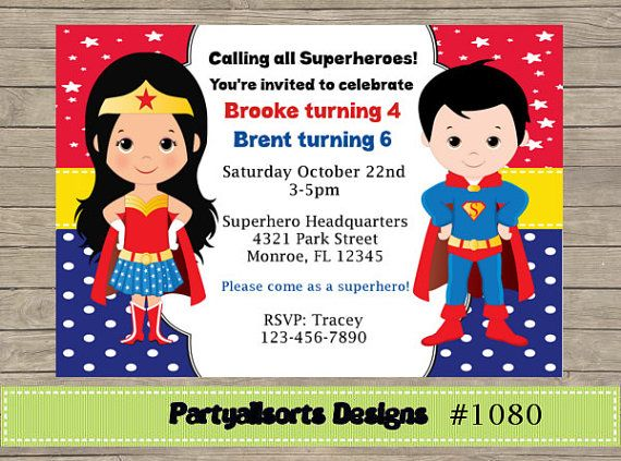 DIY Superhero Wonderwoman and Superman by PartyAllsortsDesigns diy Invitaciones de superman