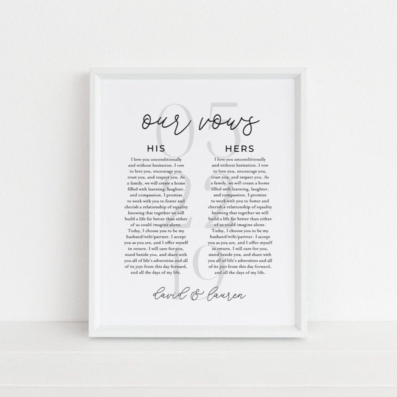 Him And Her Vows Printable Sign Set Wedding Vows Decor Etsy Printed Vows Wedding Vows Wedding Vows Quotes